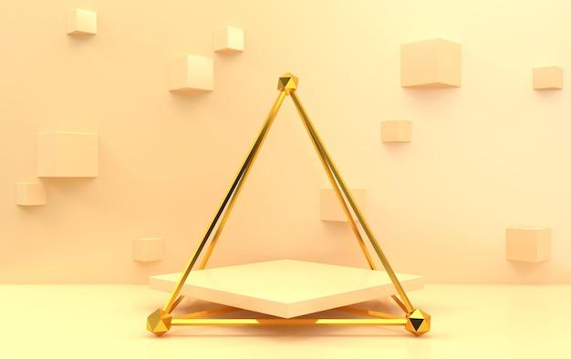 추상적 인 기하학적 모양 그룹 세트, 베이지 색 배경, 황금 케이지, 3d 렌더링, 기하학적 형태가있는 장면, 큐브가있는 배경, 황금 피라미드 내부의 사각형 받침대 프리미엄 사진