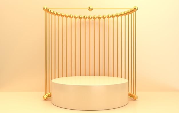 추상적 인 기하학적 모양 그룹 세트, 베이지 색 배경, 황금 케이지, 3d 렌더링, 기하학적 형태가있는 장면, 골드 프레임 내부의 둥근 대리석 받침대, 배경에 금속 커튼 프리미엄 사진