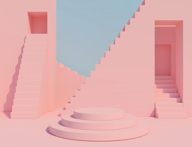 抽象的な幾何学的形状パステルカラーシーンミニマル、化粧品や製品の表彰台3 dレンダリングのデザイン。 Premium写真