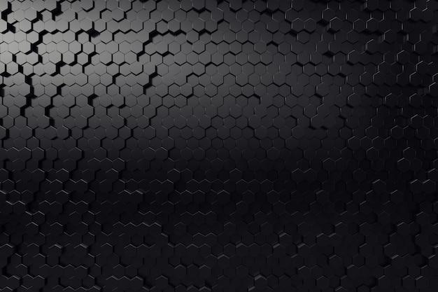 Abstract geometric surface. hexagonal black background. 3d rendering Premium Photo