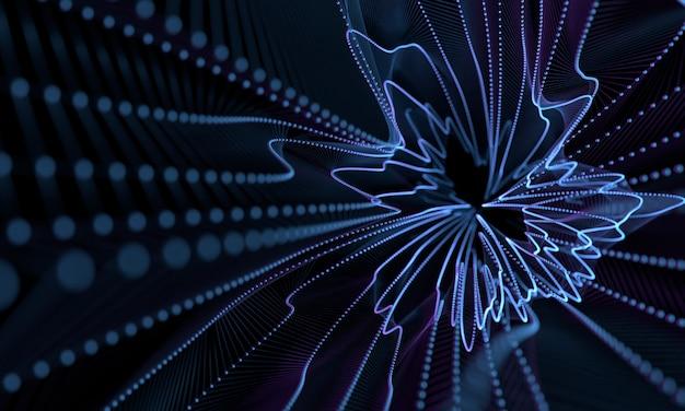 抽象的な幾何学ドットぼかしフィルター効果を持つフォームの背景を旋回 Premium写真