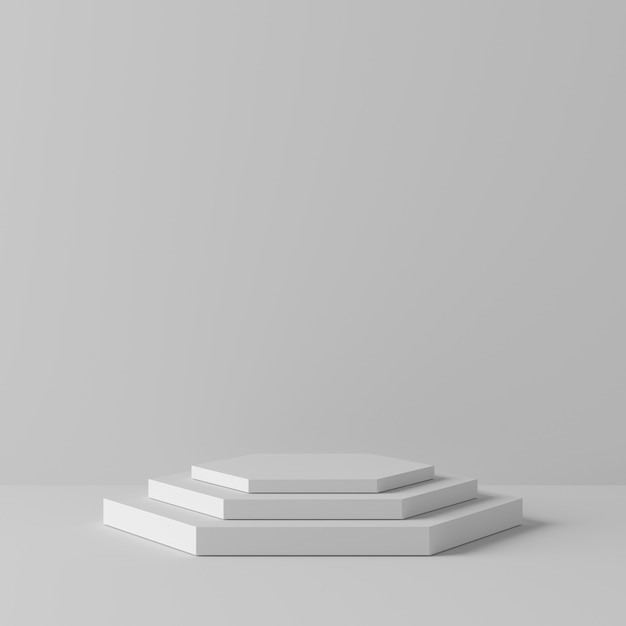 Abstract geometry hexagon shape white color podium on white background for product. minimal concept. 3d rendering Premium Photo