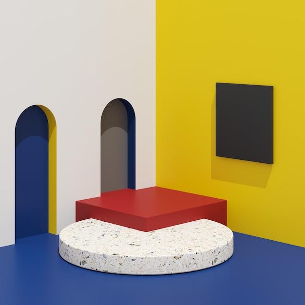 Подиум абстрактной формы геометрии красочный с terrazzo на белой предпосылке для продукта. Premium Фотографии