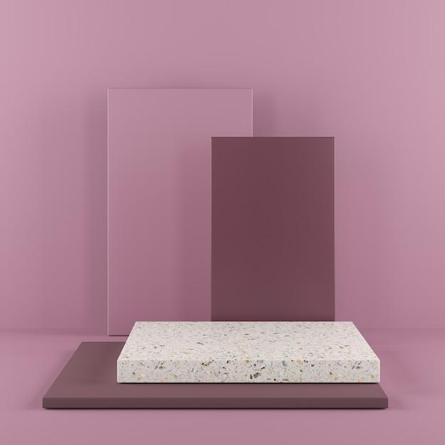 Подиум цвета абстрактной формы геометрии фиолетовый с terrazzo на фиолетовой предпосылке для продукта. Premium Фотографии