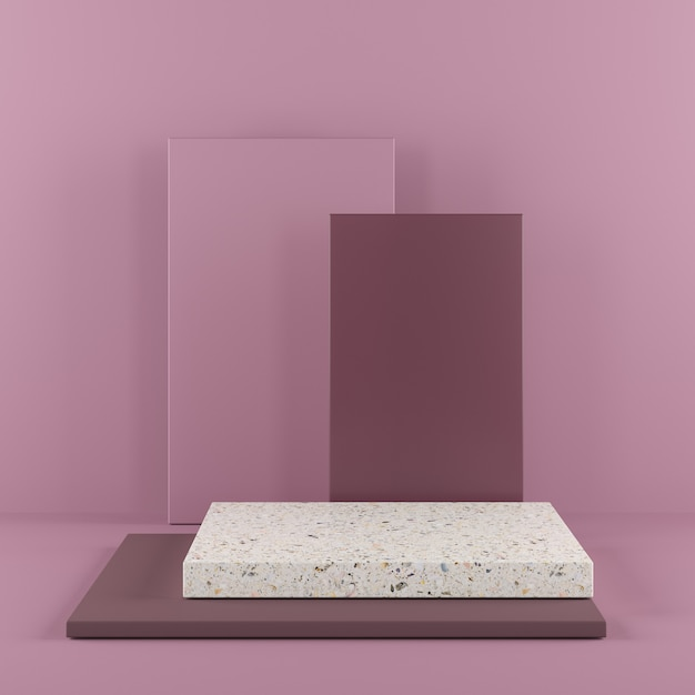 Abstract geometry shape purple color podium with terrazzo on purple background for product. Premium Photo
