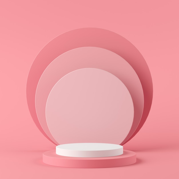 Abstract geometry shape white color and pink color podium on pink color background for product. minimal concept. 3d rendering Premium Photo