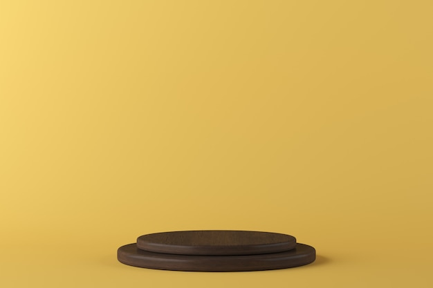 Abstract geometry shape wooden podium on yellow background for product. minimal concept. 3d rendering Premium Photo