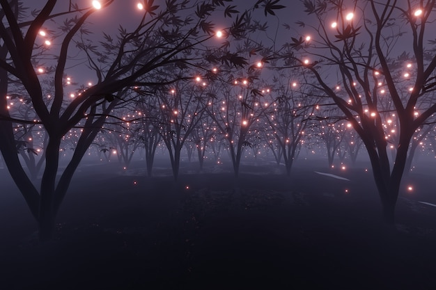 Абстрактные светящиеся частицы искрится на чужой планете пейзаж лесной 3d-рендеринга Premium Фотографии