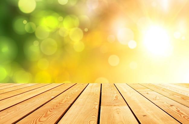 Абстрактный светящийся светлый макет деревянный стол стол доска поверхность Premium Фотографии