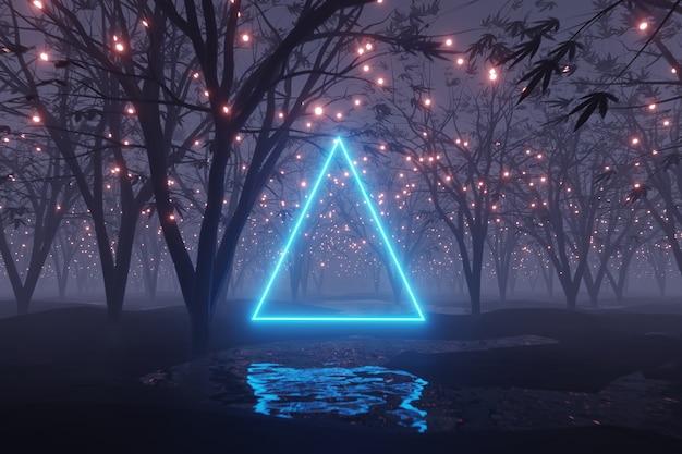 Абстрактный светящийся треугольник искрится на чужой планете пейзаж лесной 3d-рендеринга Premium Фотографии