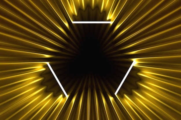 Abstract gold background illuminated with neon frame illuminated 3d illustration Premium Photo