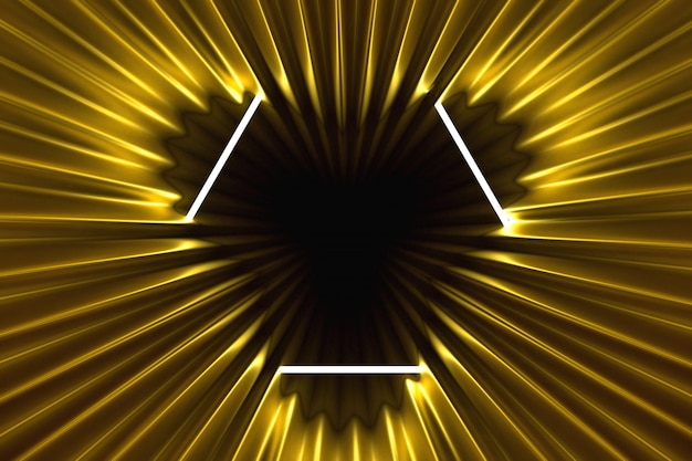 Abstract gold background illuminated with neon frame illuminated Premium Photo