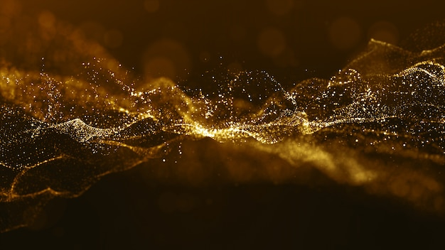 Abstract gold color digital particles wave with bokeh and light background Premium Photo
