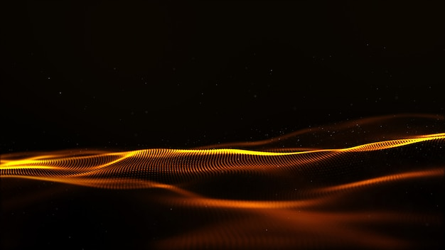 Abstract gold color digital particles wave with bokeh and light motion background Premium Photo