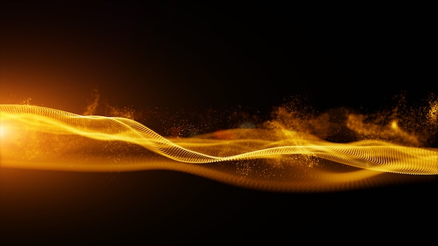 Abstract gold color digital particles with dust and light background Premium Photo