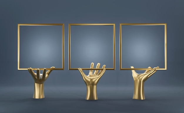 Abstract gold hand with blank frame Premium Photo