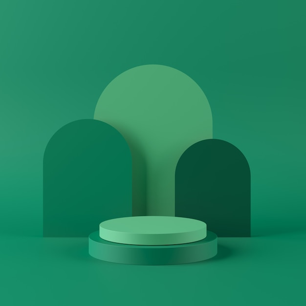 Abstract green background with geometric shape podium for product. minimal concept. 3d rendering Premium Photo