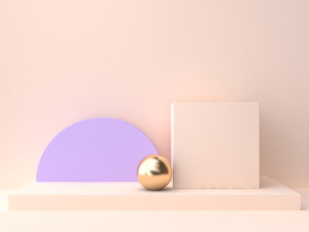 Abstract group of geometric shape blank podium cream violet-purple wall scene 3d rendering Premium Photo