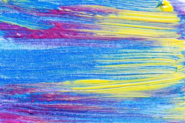 抽象的な手描きのアクリル画の創造的な芸術の背景。ブラシストロークのクローズアップショットは、色のテクスチャのブラシストロークのオーバーラップでキャンバスにカラフルなアクリル絵の具。現代コンテンポラリーアート。 Premium写真