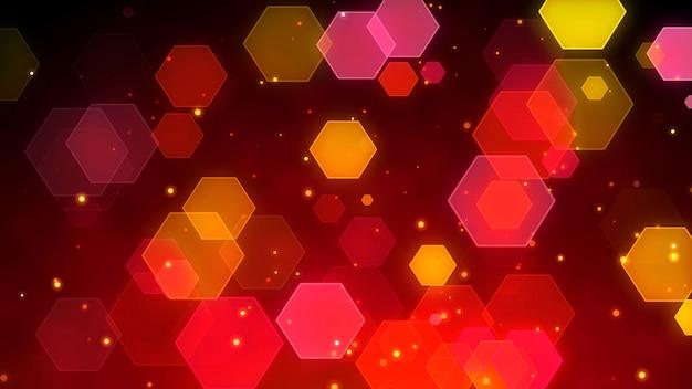 Abstract hexagon particles bokeh Premium Photo