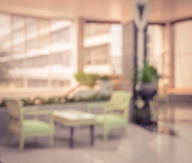 빈티지 호텔에서 추상 호텔 로비 배경 흐림 프리미엄 사진