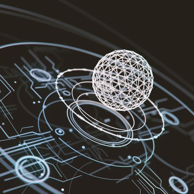 Abstract hud interface technology futuristic 3d rendering. Premium Photo