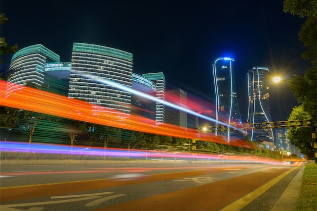 Abstract image of blur motion of cars on the city road at night Premium Photo