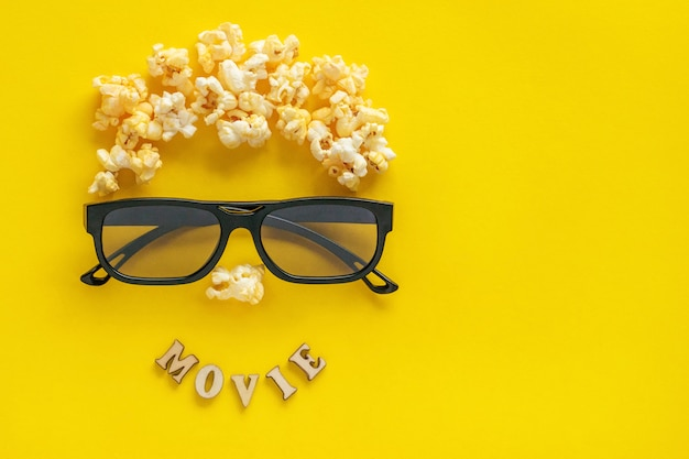 Abstract image of viewer, 3d glasses and popcorn Premium Photo