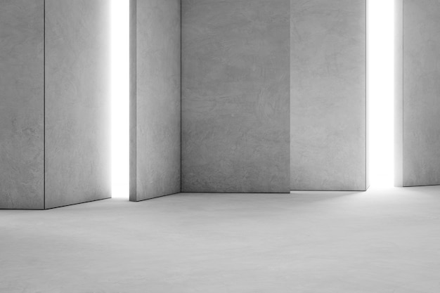 Abstract interior design of modern showroom with empty concrete floor and gray wall backgr Premium Photo