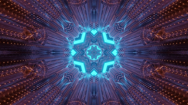 Abstract kaleidoscope background inside of tunnel with blinking red lights and round shaped gateway with blue geometrical shapes Premium Photo