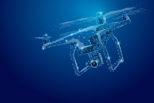 Abstract line and point drone. drone flying with action video camera on dark blue. polygonal low poly with connecting dots and lines. illustration connection structure. Premium Photo