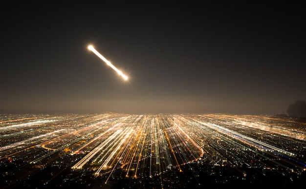 Abstract long exposure, experimental surreal photo, city and vehicle lights at night Premium Photo