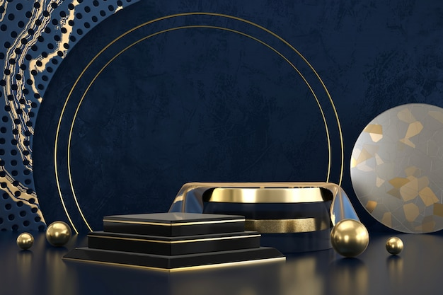 제품 디스플레이, 3d 렌더링 광고에 대 한 추상 럭셔리 검은 황금 무대 플랫폼 연단. 프리미엄 사진
