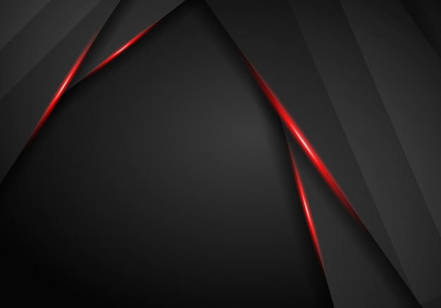 Abstract metallic background with black red frame sport Premium Photo