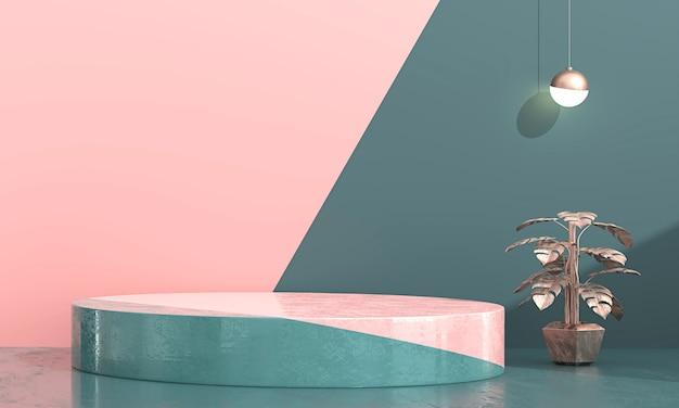 제품 디스플레이 현재 배경, 3d 렌더링에 대 한 추상 최소한의 무대. 프리미엄 사진