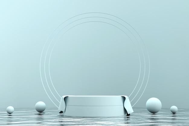제품 디스플레이에 대 한 추상 최소한의 단계 현재 배경, 3d 렌더링. 프리미엄 사진
