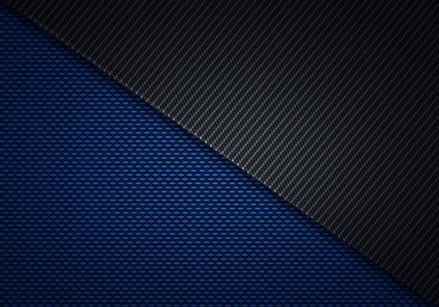 Abstract modern blue black carbon fiber textured material design Premium Photo