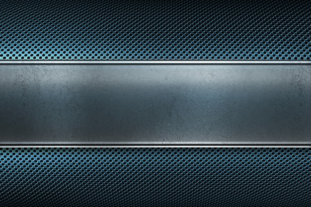 Abstract modern blue colored perforated metal plate with polished metal plate banner Premium Photo