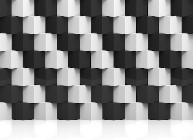 Abstract modern stack of random luxury white and black cube boxes wall Premium Photo