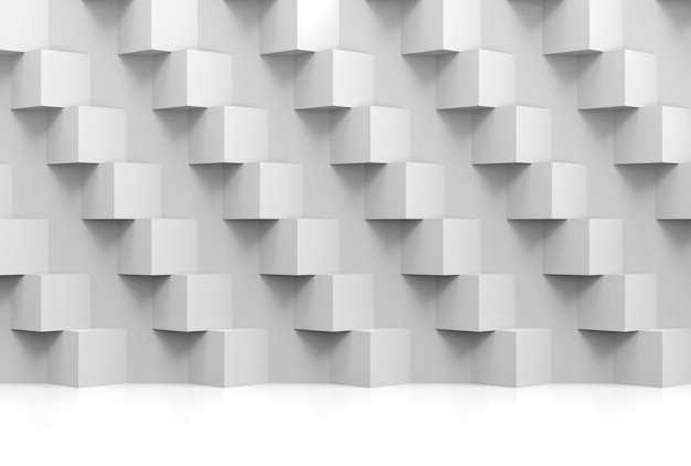 Abstract modern stack of random luxury white cube boxes wall Premium Photo