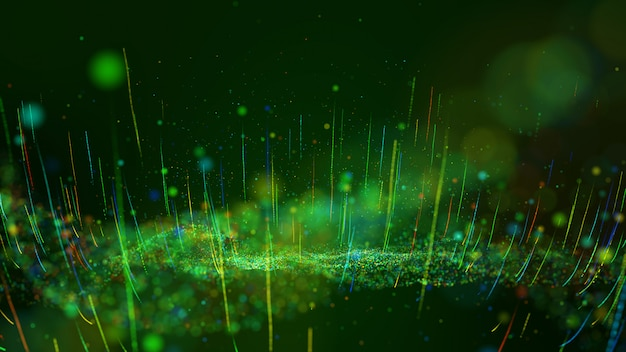 Abstract motion background shining green and colorful dust particles glow, wave and grow up movement. Premium Photo