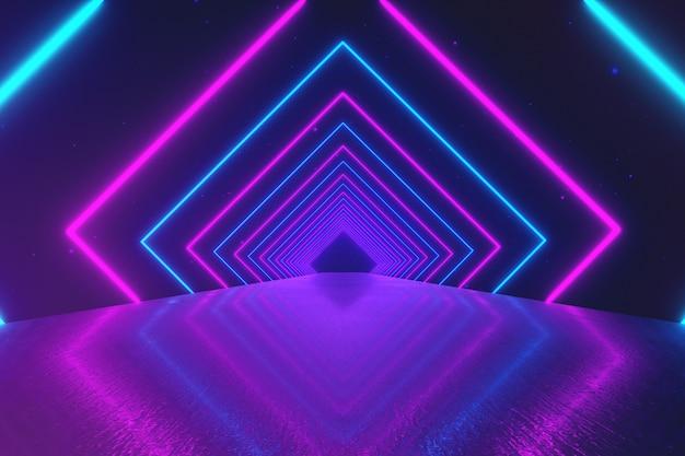 抽象的な動きの幾何学的な背景、回転トンネル、ブルーピンクパープルスペクトル、蛍光紫外光、モダンなカラフルな照明、3 dイラストレーションを作成する輝くネオンの正方形 Premium写真