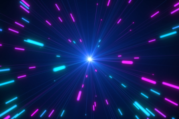 디지털 네온 불꽃의 추상 여러 가지 빛깔 된 폭발 프리미엄 사진