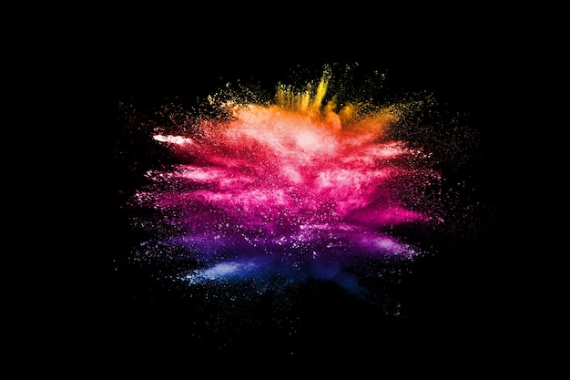 Abstract multicolored powder dust explosion. Premium Photo