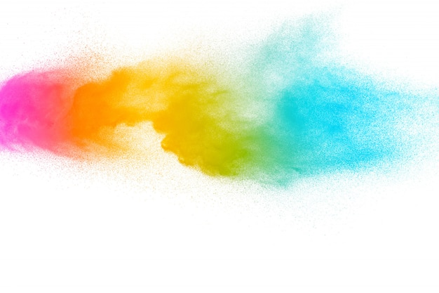 Abstract multicolored powder explosion on white background. Premium Photo