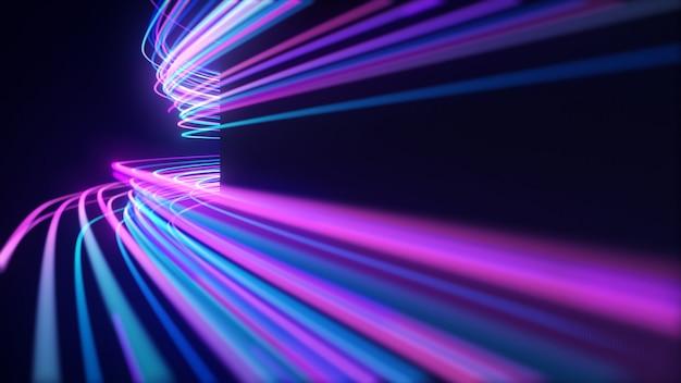 Abstract neon light lines Premium Photo
