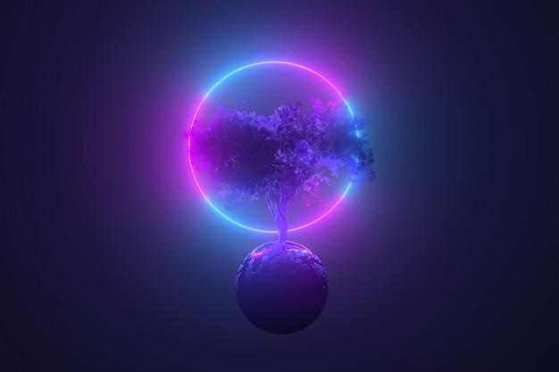 추상 네온 테이블, 네온 빛나는 라운드 프레임, 핑크 블루 빛나는, 3d 일러스트에 비추어 둥근 행성을 통해 돋아 신비로운 우주 나무 프리미엄 사진