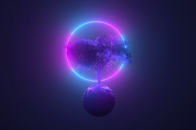 Abstract neon table, mystical cosmic tree sprouting through a round planet in the light of a neon glowing round frame, pink blue glowing, 3d illustration Premium Photo