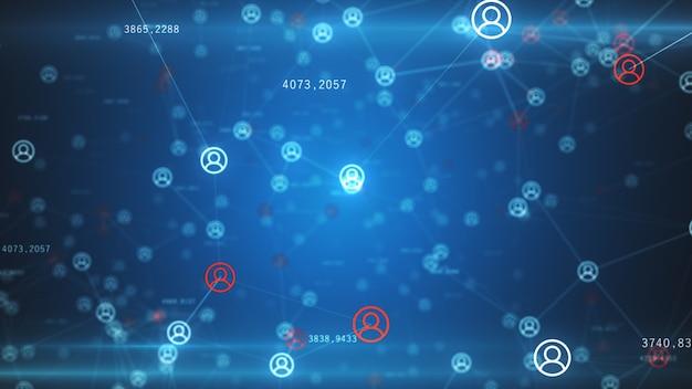 Абстрактная сеть физических устройств в интернете с использованием сетевого соединения с номерами статистики Premium Фотографии