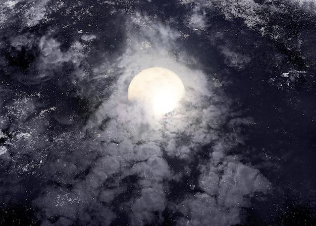 ハロウィーンの背景の満月の抽象的な夜空。 Premium写真